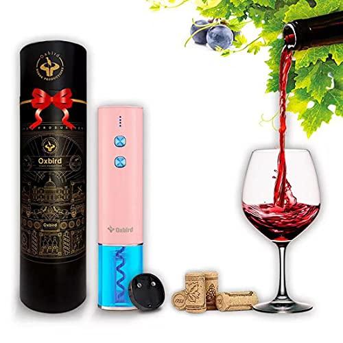 Abrebotellas eléctrico, recargable, abrebotellas automático, abrebotellas de vino, con base de aluminio y cable de carga USB, apto para uso doméstico (rosa)
