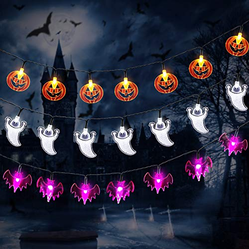 YUNLIGHTS Halloween String Lights, 3 Packs Battery Operated Halloween Pumpkin Bat Ghost Decorations Lights Kit with 3x30 LED Lights, 3x11.5ft for Indoor/Outdoor Halloween, Holiday Party Decoration