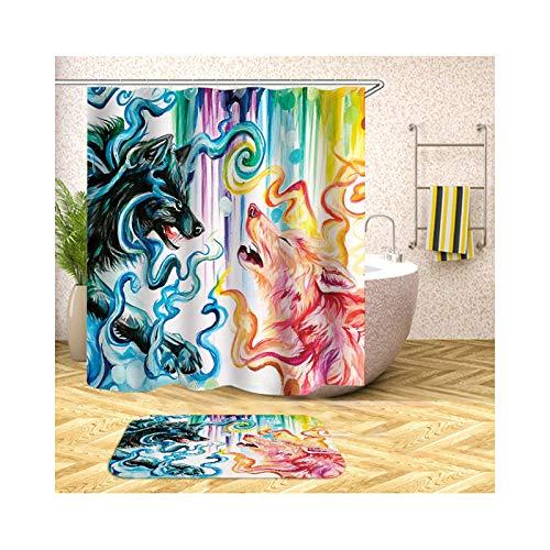 Aeici Zwei Füchse WC Vorleger 40X60 Polyester Badezimmer Vorhang 3D Bunt Duschvorhang 90X180 cm