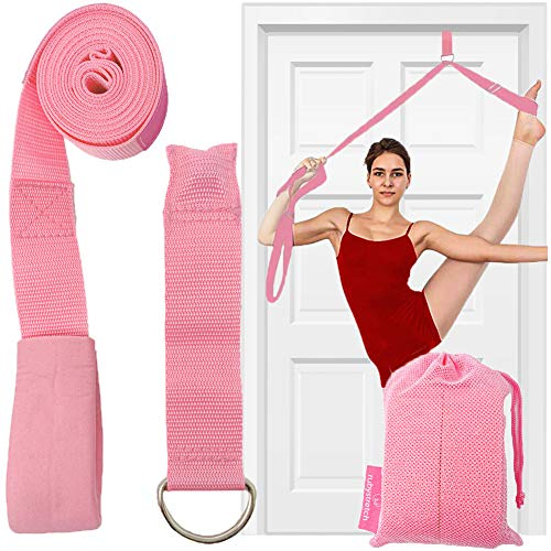 Leg Stretcher Strap, Door Stretch Strap for Flexibility, Adjustable Strap with Door Anchor to Improve Leg Stretching - Door Flexibility Trainer Band with Carrying Pouch for Dance, Cheer, Ballet Pink