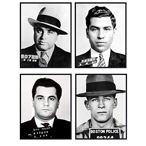 Mafia Mobsters - Mugshot Poster Set - 8x10 Vintage Gangster Wiseguy Photos of the Mob for Bedroom, Living Room - Cool Gift for Men, Boys, Teens - Organized Crime Photographs - UNFRAMED Wall Art Decor