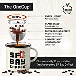 SAN FRANCISCO BAY SF Coffee OneCUP Ct Swiss Water Processed Dark Compostable Coffee Pods K Cup Compatible including… 12 We take a blend of the finest coffees from Central and South America, all choice selected, high altitude, shade grown and handpicked, then roasted very dark, to get a rich complex flavor creating the perfect French roast. This caffeinated dark roast has an intense, bold, and smoky flavor in every cup. We use only the best low acid, 100% Arabica coffee beans to ensure our coffee is the best tasting coffee to be found for your Keurig K-Cup style brewers and other single serve brewing systems. Our OneCup coffee pods are compatible with most Keurig K-Cup 1.0 and 2.0 brewers, as well as Cuisinart, Bunn, iCoffee and other single serve brewers. Our OneCups are the better choice of coffee for your single serve brewer, and the environment, all at a lower cost. Our OneCups are made from plant-based renewable resources, designed to offer a French Press experience to your single serve coffee, maximizing flavor and providing a richer and more full-bodied taste you will love to the last drop. Now you can have the highest quality coffee through the convenience of your singe serve brewer. OneCups mesh bottoms allow us to package the freshest product possible, just open up one of these bags and smell it for yourself! The OneCup pods are comprised of wood pulp lidding, a corn ring and mesh coffee filter. The end result? A more environmentally friendly, certified kosher, single serve coffee option with a great taste, allowing you to taste the difference, while you make a difference.