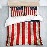 TARTINY Bedding Bedrucktes Bettbezug-Sets Grunge USA Flagge Mikrofaser Kinder Student Schlafsaal Bettwäsche Set