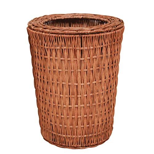 CHUTD Wicker Wastebasket Rattan Round Trash Can,handwoven Seagrass Waste Bin With Inner Buckets,rubbish Bin For Bedroom Kitchen Bathroom Office B 8l