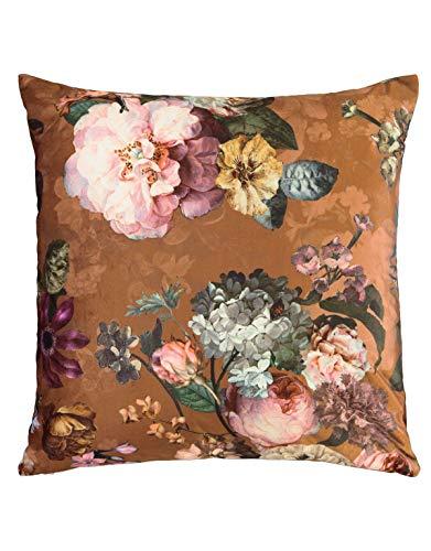 ESSENZA Dekokissen Quadratisch Fleur Blumen Pfingstrosen Tulpen Polyester Braun, 50x50 cm