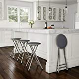 Padded 24 Inch Cushioned Folding Stool Holds 300 Lbs Extra Seating Gray Bar Stool Set Tall bar Chairs Set of 1 Bar high Chairs Bar stools Set of 1 Bar Chairs Set of 1 Bar with stools