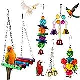Achort 5 Unidades Juguetes para Pájaros Accesorios Jaula Pajaros Bite Toy con Campanas, Escalera de Madera, Hamaca de Madera para Periquitos, Cockatiels, Loro, Periquito, cacatúas, Love Birds