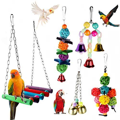 Achort 5 Stück Bunten Vogelspielzeug, Vögel Spielzeug Vogel Papagei Schaukel Spielzeug mit Naturholz Hängematte Hängenden Barsch für Sittiche Nymphensittiche, sittichen, Aras, Papageien, Love Birds