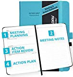 Action Day Meeting Notebook, Design That Makes It Easy for You to Run Effective Meetings & Take Meeting Notes & Turn Them into Actions, Journal, Agenda, Hardcover, Pocket (6x8, Turquoise)
