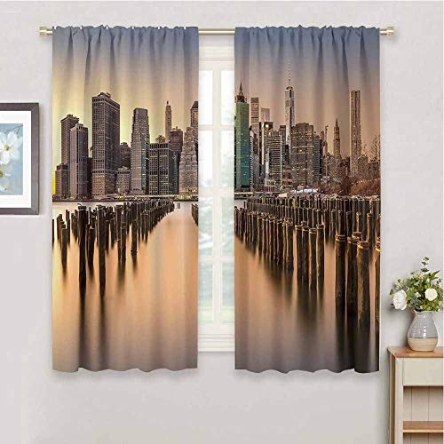 Scenery House Decor Black Out Curtain Panels for Bedroom, Curtains 72 inch Length Long Exposure of The Manhattan Skyline and Brooklyn Pier Urban Life NYC Maintain Good Sleep Multi W72 x L72 Inch