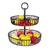 Frutero de 2 pisos,Fruteros de cocina modernos,Cesta de frutas y vegetales de metal,Fruteros de cocina negro estilo vintage – Para verduras y frutas frescas - Soporte de frutas con cuencos