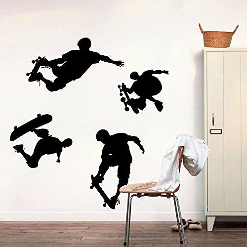 Skateboard-Schattenbild Wand Aufkleber Eigenschaften 4 Skateboarding-Tätigkeit Dekorative Entfernbare DIY Schwarze Vinyl Wandtattoo Sport für Wohnzimmer, Schlafzimmer,Kinderzimmer Jungen, Sport-Shop