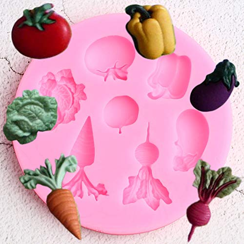 SHEANAON Gemüse Obst Radieschen Tomate Auberginen Kohl Silikonform Süßigkeiten Fondant Formen Schokolade Gumpaste Form Kuchen Dekorationswerkzeuge