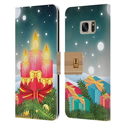 Head Case Designs Geschenke Urlaub Kerzen Leder Brieftaschen Huelle kompatibel mit Samsung Galaxy S7