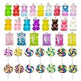 Juego de 64 colgantes coloridos de caramelos Colgante de Oso Caramelo colgantes de arcilla polimérica con forma de piruleta para pendientes, collar, pulsera, bricolaje, fabricación de joyería