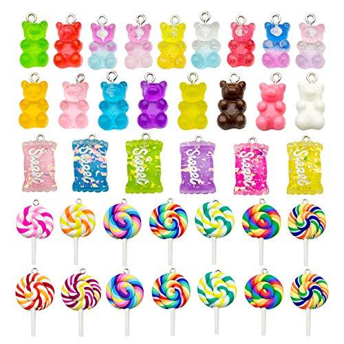 TSLBW Set di 64 ciondoli Colorati a Forma di Caramella Ciondoli di Orso Colorato ciondoli per Lecca-Lecca con Ciondolo a Forma di Caramella, per Orecchini, collane, bracciali, Gioielli Fai da Te
