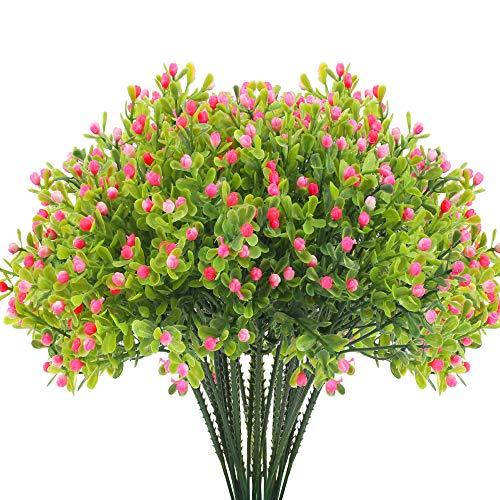 XHXSTORE Künstliche Blumen Deko 2 Stück Kunstblumen Rosa Blüten UV-beständige Plastik Künstliche Pflanzen Draußen Kunstpflanzen für Balkon Garten Hochzeit Zuhause Balkonkasten Deko