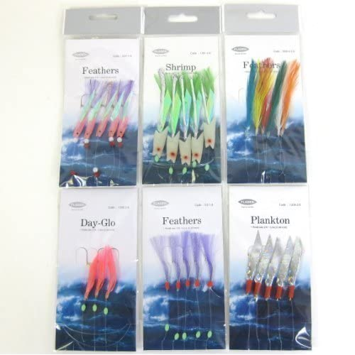 FTD - Fladen Sea Fishing Lures Selection Feathers, Day-Glo and Plankton, - ideal for Mackerel and other sea fishing!