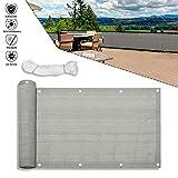 Froadp 90x600cm HDPE Balkonbespannung mit Ösen und Kordel Blickdicht Windschutz Sonnenschutz...