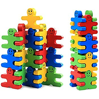 Elephant and Owl Building Balancing Games Stocking Stuffers Gift for Boys /& Girls FUN LITTLE TOYS 55 PCs Wooden Toys Building Blocks Educational Stacking Toys