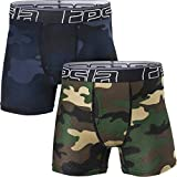 TSLA Boy's Relaxed Stretch 3 inches Open-Fly Cool Dry Brief Mesh Underwear Trunk, Open Fly 2pack(bbu31) - Camo Olive & Blue, Small