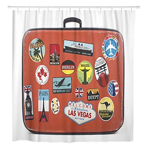 Luggage Travel Suitcase Vintage Old Label Baggage World Shower Curtain Waterproof Polyester Fabric Set With Hooks-W90xH180cm