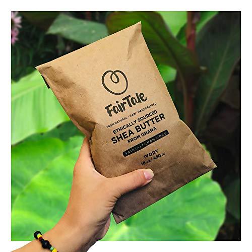 FairTaleGhana Raw African Shea Butter Unrefined Ivory Organic Premium Grade A 100% Natural Plant Based Vegan, 16 oz.