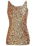 kayamiya Women's 1920S Style Glitter Sequined Vest Tank Tops XS Gold