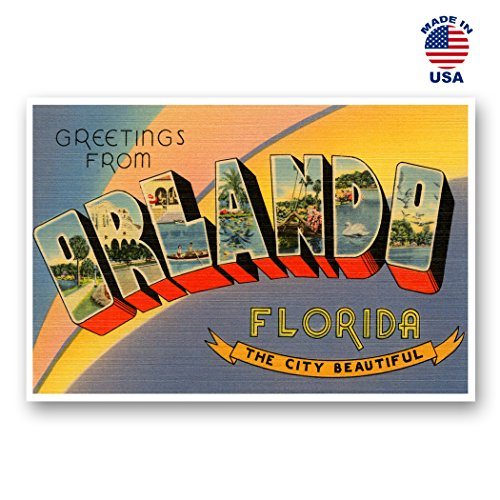 GREETINGS FROM ORLANDO, FL vintage reprint postcard set of 20 identical postcards. Large letter Orlando, Florida city name post card pack (ca. 1930's-1940's). Made in USA.