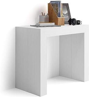 Mobilifiver Mesa Consola Extensible Modelo Angelica Color Blanco Ceniza 45 x 90 x 76 cm