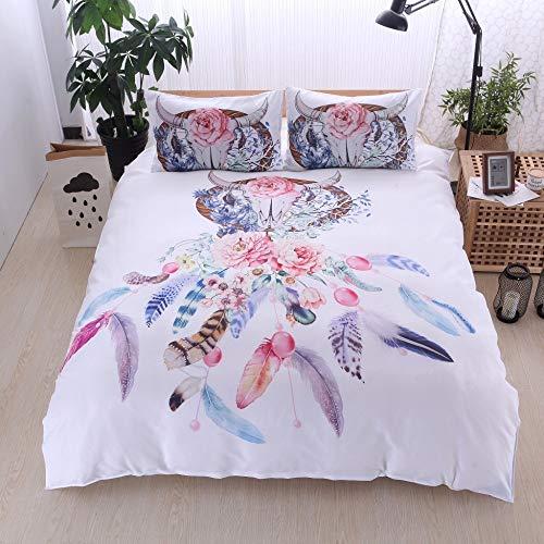 BH-JJSMGS Bettwäsche mit goldenem Mandaladruck, exotischem Windspiel, Kissenbezug, leichtem Bettbezug aus Mikrofaser, mit Reißverschluss, 200 * 200 (dreiteiliges Set) B.