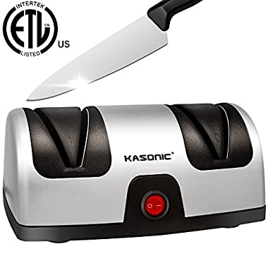 Electric Knife Sharpener, Kasonic 2-Stage 100% Diamond Coated Sharpening System; Quickly Sharpening Most Non-Serrated Kitchen and Sports Steel Knives; ETL-Listed; Safe and Easy to Use
