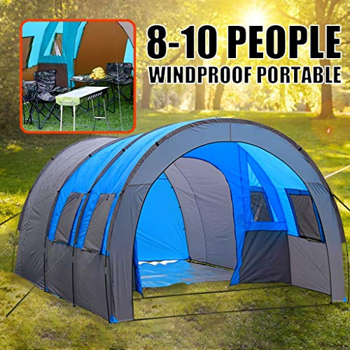 Oxford Cloth Double-Layer Waterproof Moisture-Proof Insect-Proof ant Tunnel Large Space Tent Camping Hiking Outdoor Beach Summer Camp Light (Blue)