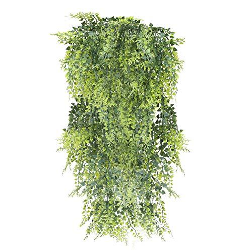 XHXSTORE 2PCS Hiedra Artificial Exteriores de Plástico Falso Planta Que Cae Helecho de Boston Colgante para Interior Decoración Maceta Pared Jardín Puerta Balcón