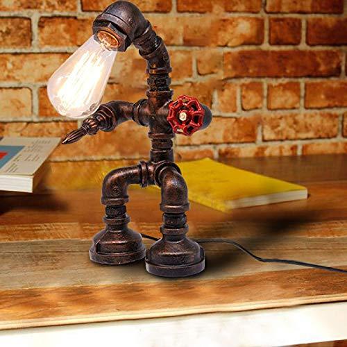 SYyshyin Lámpara de Escritorio Industrial Retro Steampunk, lámpara de Mesa de Escritorio de Tubo de Metal de Robot de Hierro Antiguo para decoración de Habitaciones
