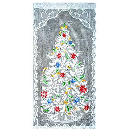 You's Auto Weihnachts Scheibengardine, mit LED Beleuchtung Weihnachten Spitze Vorhänge Weihnachtsmann, Eine Festliche Atmosphäre (Weihnachtensbaum ohne LED Beleuchtung)