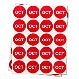 1' Round - 1 Roll October Months of The Year Labels Color Coding Dot Round Self Adhesive Stickers (Red White) - 300 Labels per Package