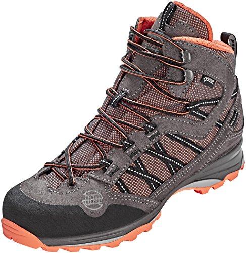 Hanwag W Belorado II Mid Lady GTX Grau, Damen Gore-Tex Hiking- und Approachschuh, Größe EU 38 - Farbe Asphalt - Orink