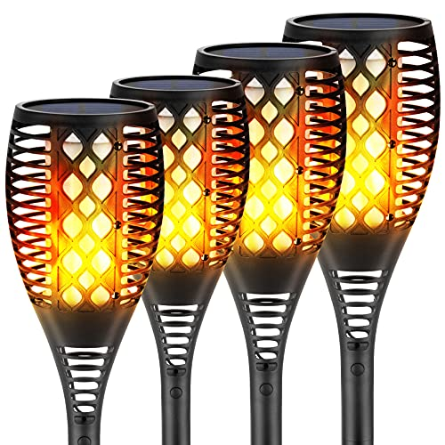 Eicaus Solar Torch Light Outdoor, 96 Led Tiki Torches with Flickering Flame and Three Lighting Modes, Waterproof Landscape Garden Pathway Decoration Lighting with Auto On/Off Dusk to Dawn