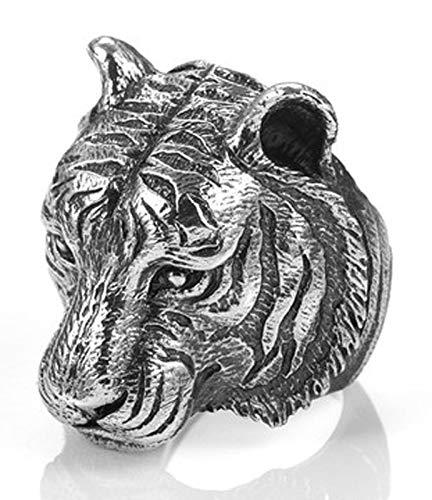 RXISHOP Anillo de plata S925 para hombres y mujeres, diseño de cabeza de tigre, estilo retro, estilo punk, para novio y padre de la suerte, 17-26# 22#