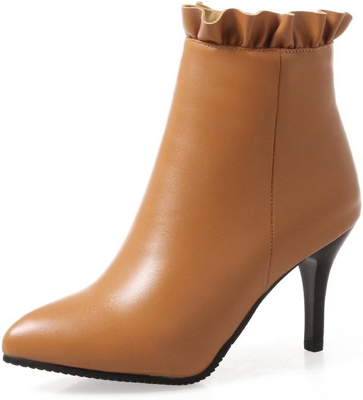 BalaMasa Womens Spikes Stilettos Ruffles Ankle-High Urethane Boots ABL10550