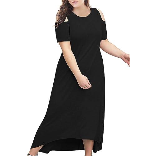 638bc442e3 Nemidor Women s Cold Shoulder Plus Size Casual High-Low Hem Maxi Dress with  Pocket
