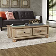 Crossmill Transitional Style 2 drawers with Metal Runners and Safety Stops Coffee Table, Weathered