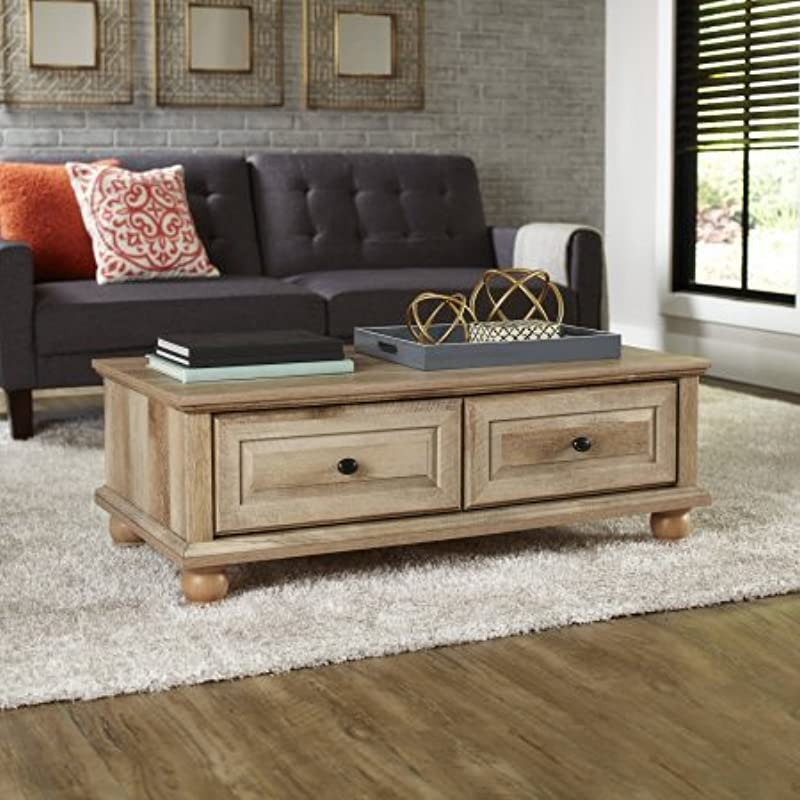 Crossmill Transitional Style 2 Drawers With Metal Runners And Safety Stops Coffee Table Weathered