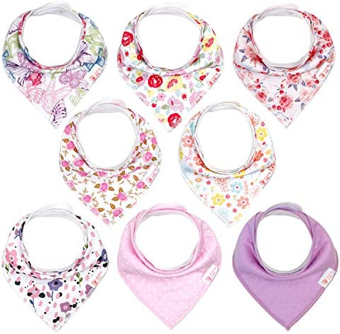 Bibs Baby Girl Bibs 8 Pack Unisex Baby Bandana Drool Bibs for Boys and Girls Cotton and Absorbent product image