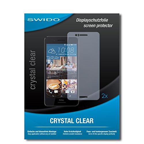 SWIDO Schutzfolie für HTC Desire 728G Dual SIM [2 Stück] Kristall-Klar, Hoher Härtegrad, Schutz vor Öl, Staub und Kratzer/Glasfolie, Displayschutz, Displayschutzfolie, Panzerglas-Folie