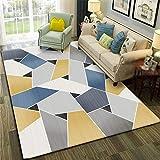 Simmia Home Tapis de Salon Moderne Mosaïque géométrique Gris Blanc Bleu Jaune dégradé 80 * 120CM Rugs Antidérapant Non...