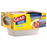 GladWare Deep Dish Containers with Lids, 8 Cups (64 oz) 3 containers by Glad