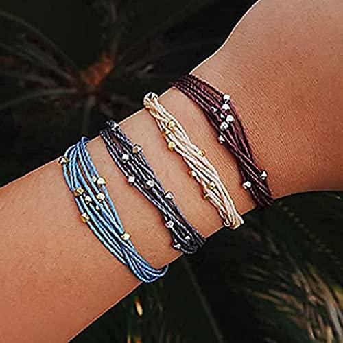 Branets - Set di braccialetti a strati perline, con di corda intrecciata, regolabile, accessorio per donne e ragazze (4 pezzi)