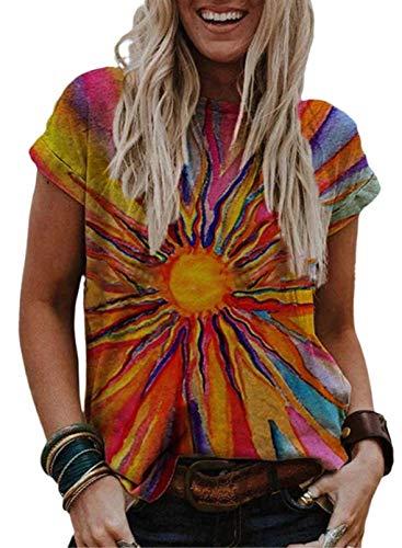 CORAFRITZ Camisetas de verano para mujer con estilo gráfico estampado casual manga corta camiseta básica blusas coloridas